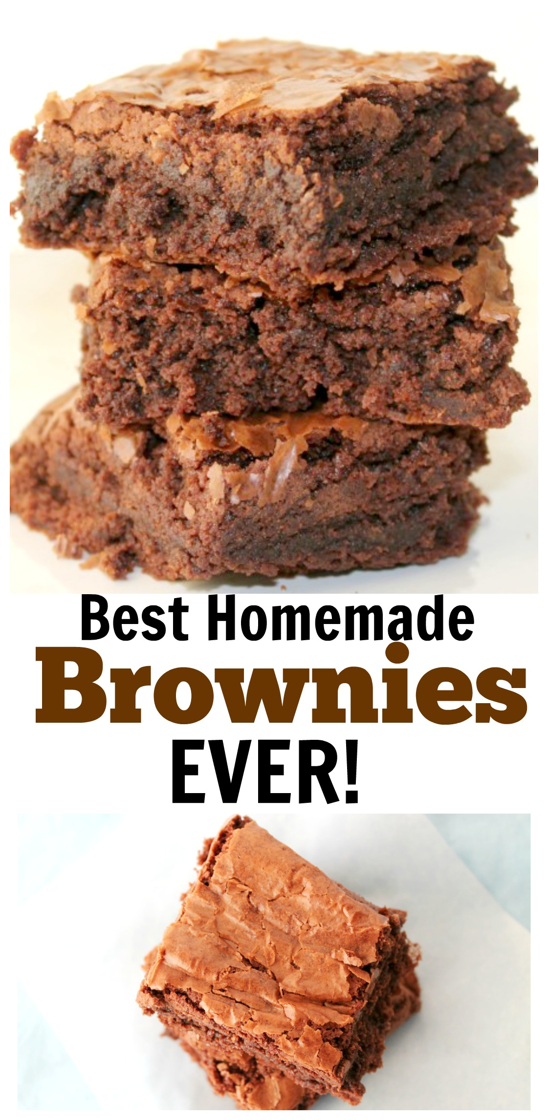 The Best Homemade Brownies Ever! These made from scratch brownies are super easy to make and taste so much better than the box mix. They are super chocolatey and fudgey.