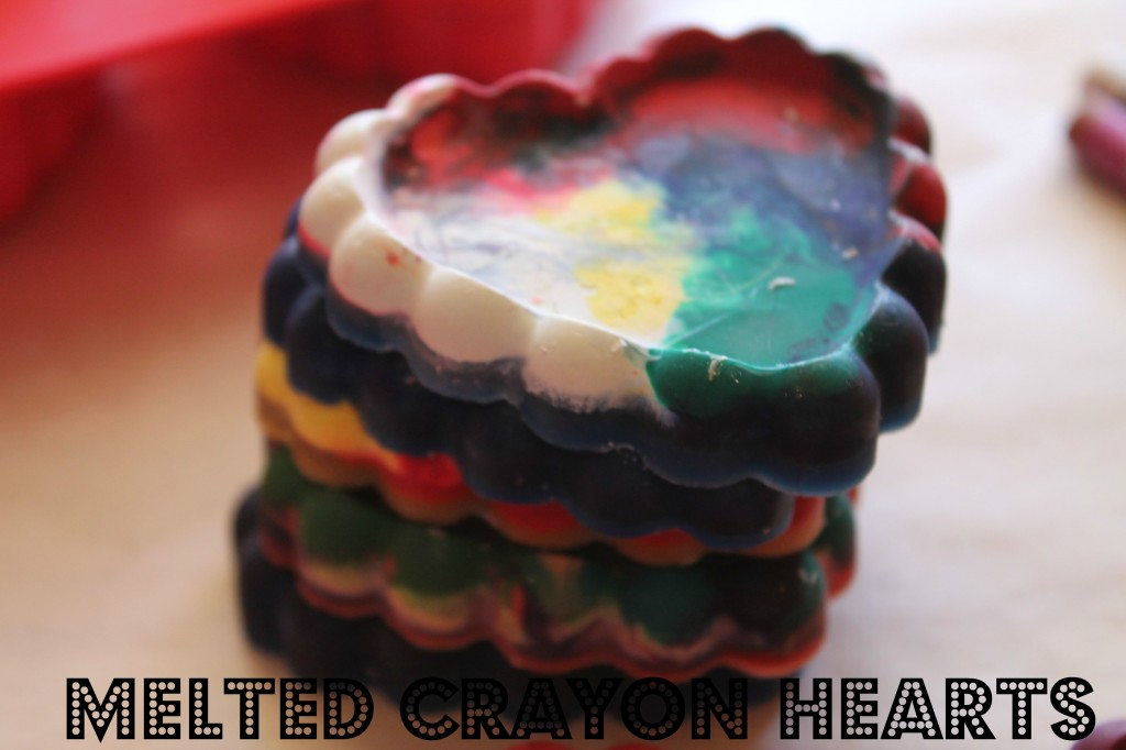 melted crayon hearts valentines day