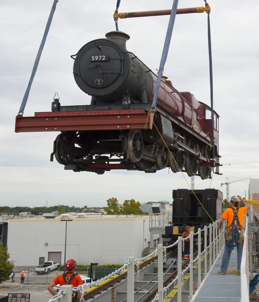 The Hogwarts Express has arrived at Universal Orlando Resort.  Today, October, 24, 2013, Universal Orlando placed the iconic locomotive and train tender on the tracks between the two theme parks.