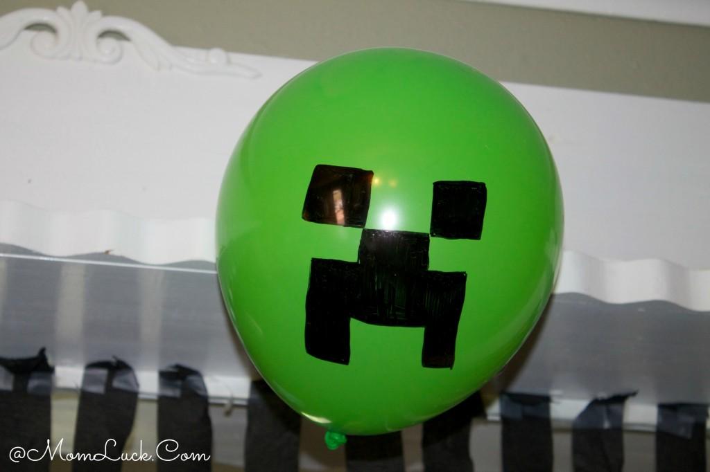 Minecraft birthday party Creeper balloons