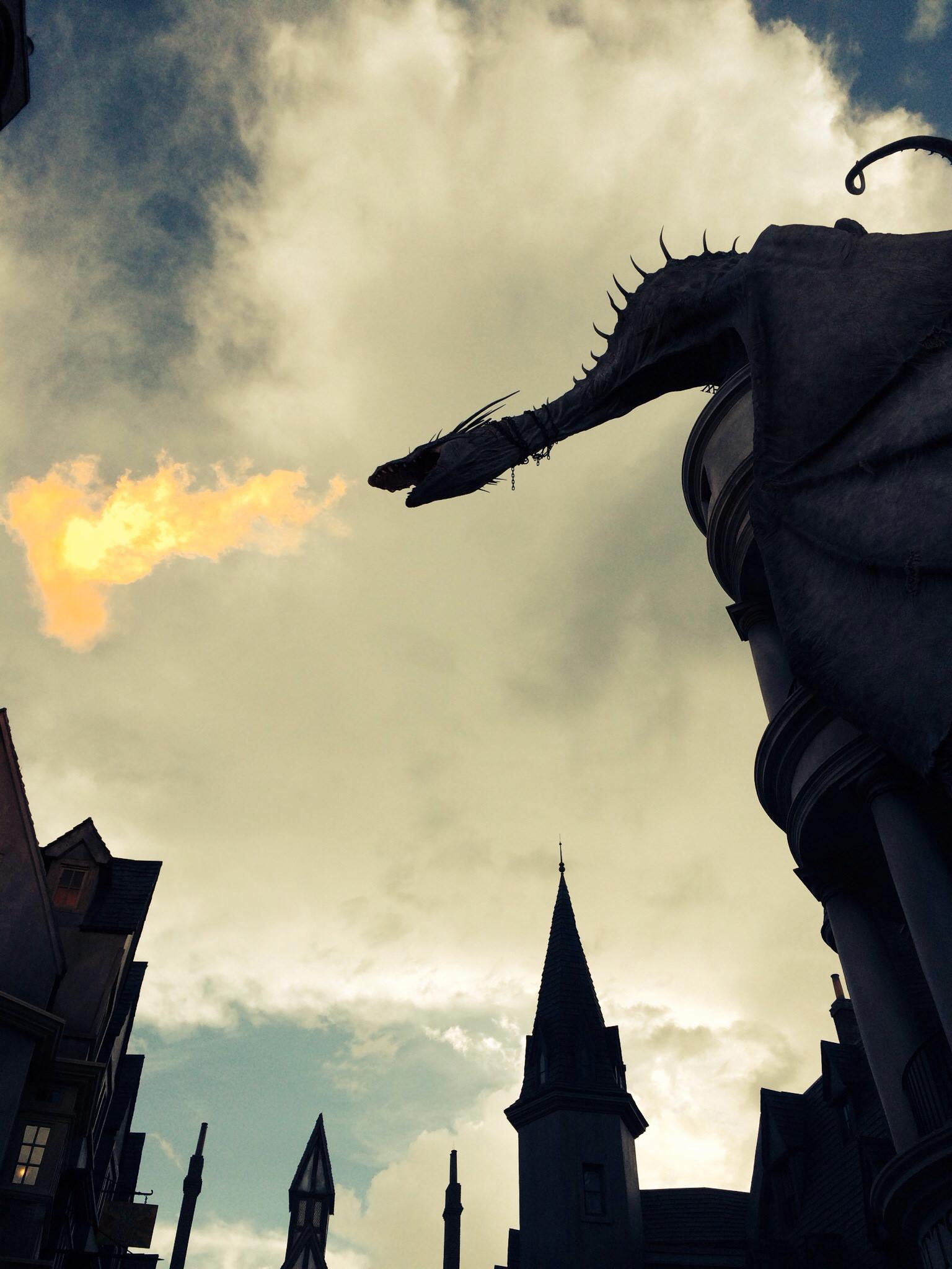 fire breathing dragon on Gringotts bank