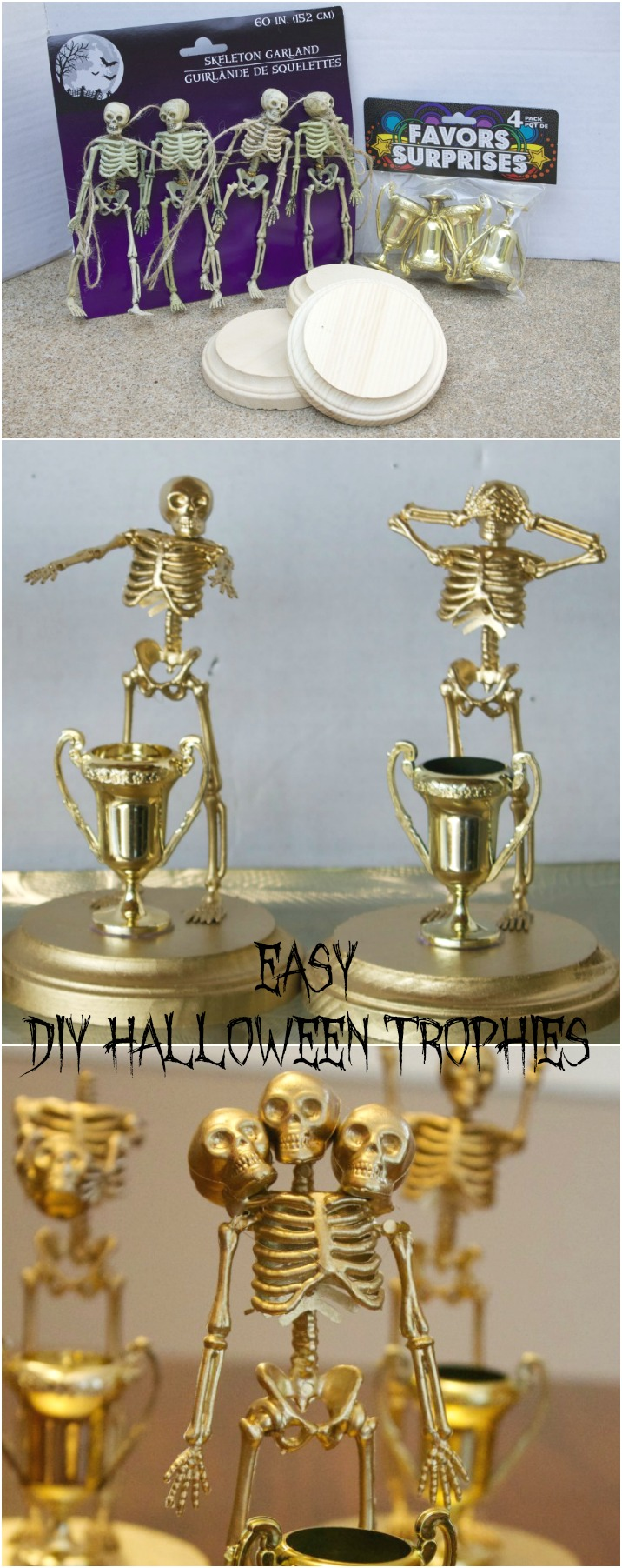 Easy Make at Home Halloween Trophies for costume Contest Parties