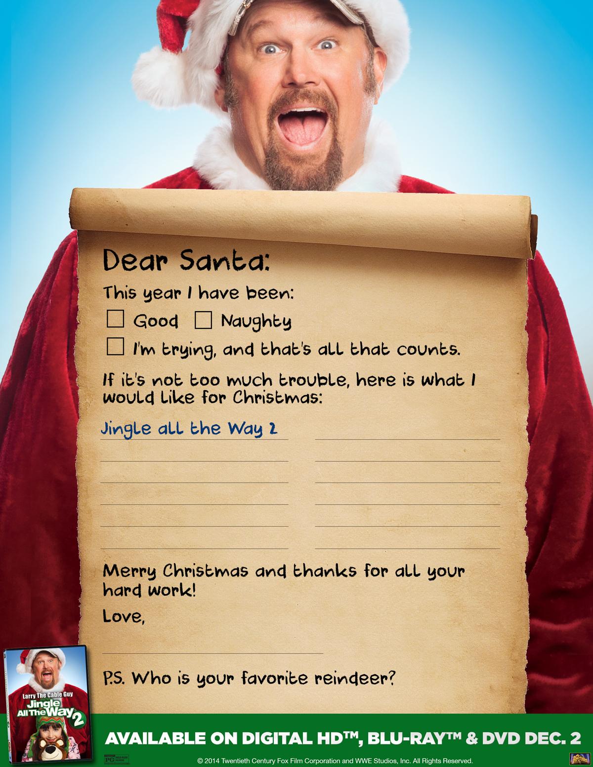 Jingle All The Way 2-printable letter to santa