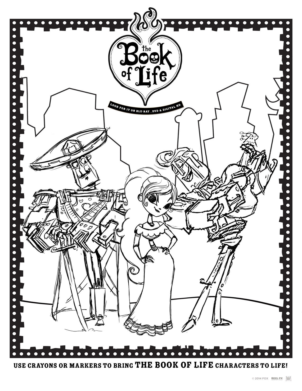 Free coloring pages for kids the book of life for Book coloring pages free