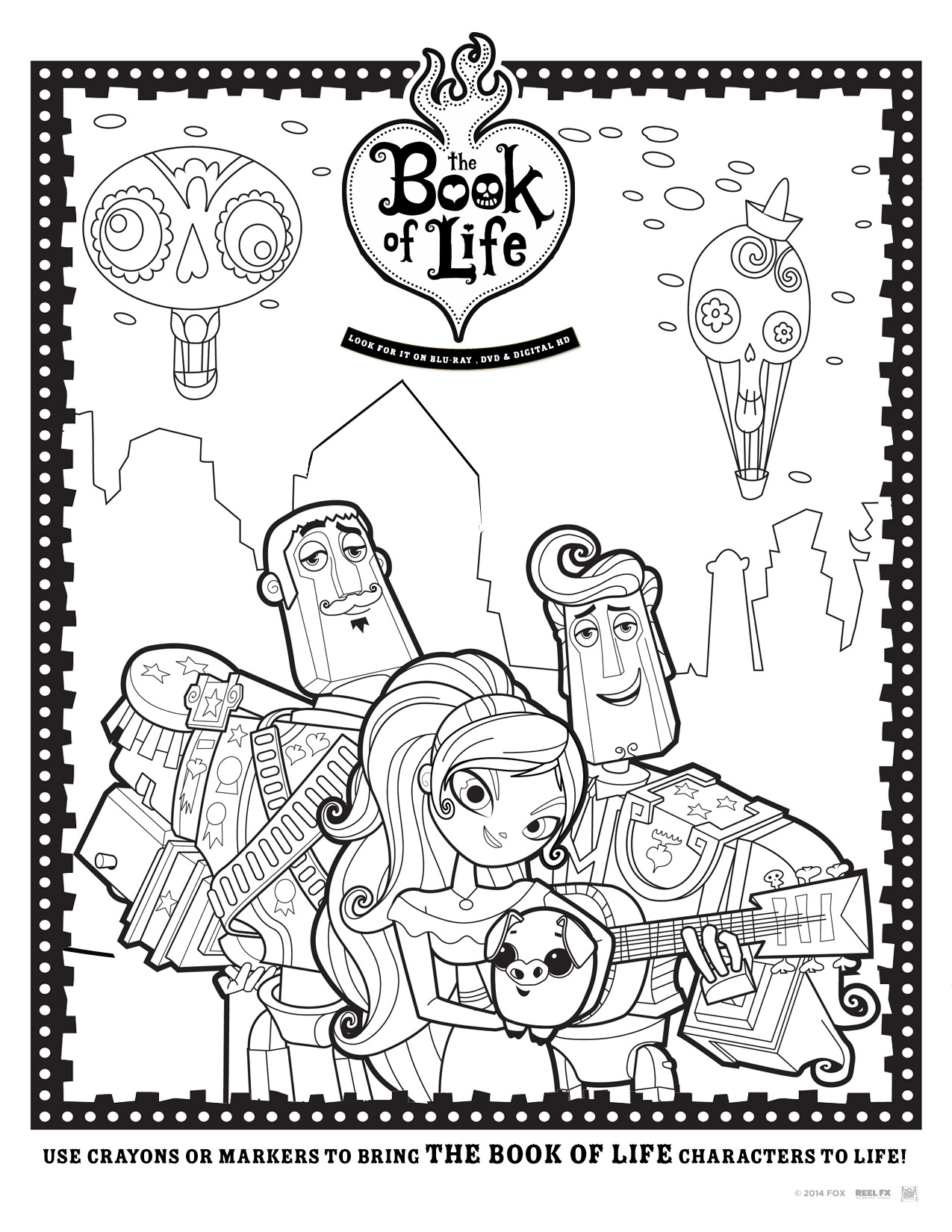 Free coloring pages for kids the book of life Coloring book