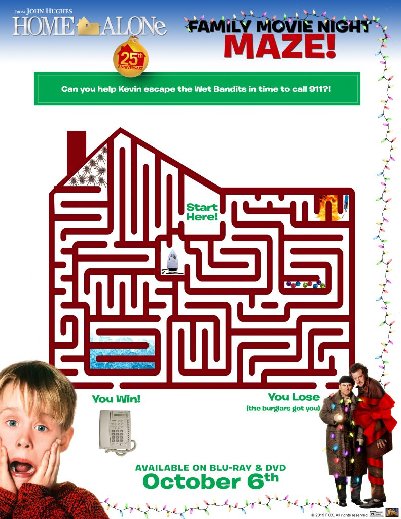 home alone activity sheets