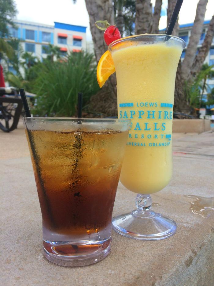 tropical drinks poolside