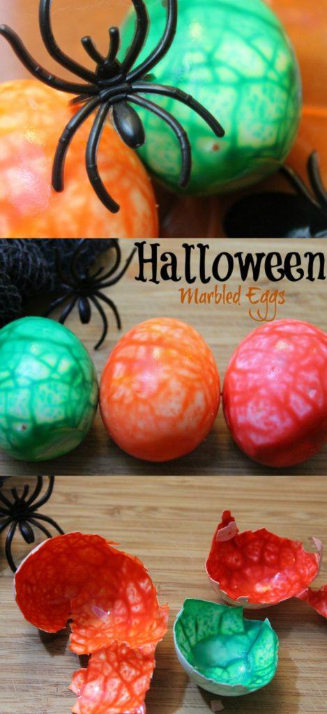 Spooky Halloween Marbled Eggs
