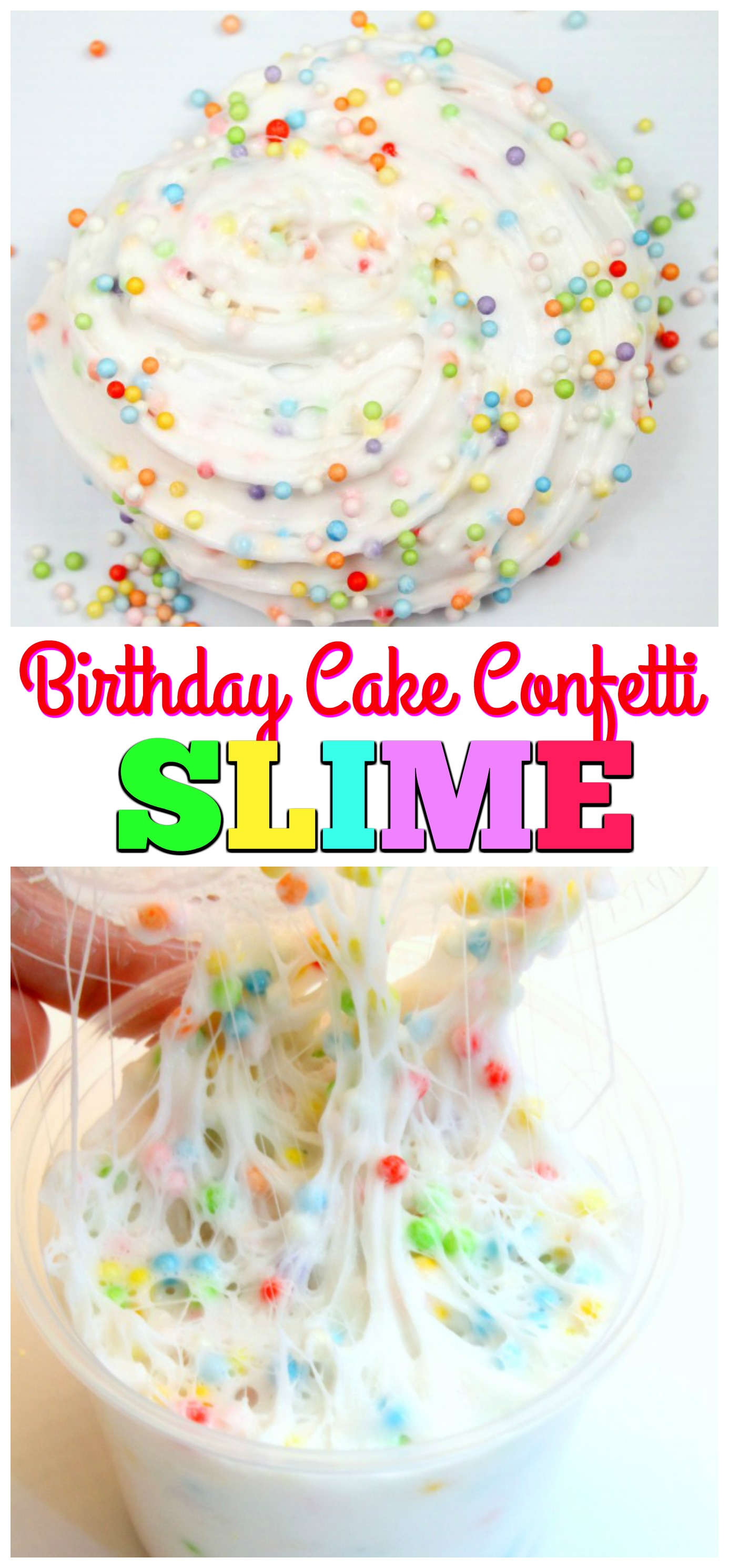 Birthday Cake Confetti Slime-Easy Fluffy Slime Recipe that is super stretchy and fluffy. Learn how to make Make Soft Serve Swirls with Fluffy Slime