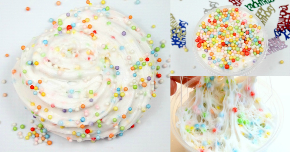 Birthday Cake Confetti Slime Recipe Best Fluffy Slime