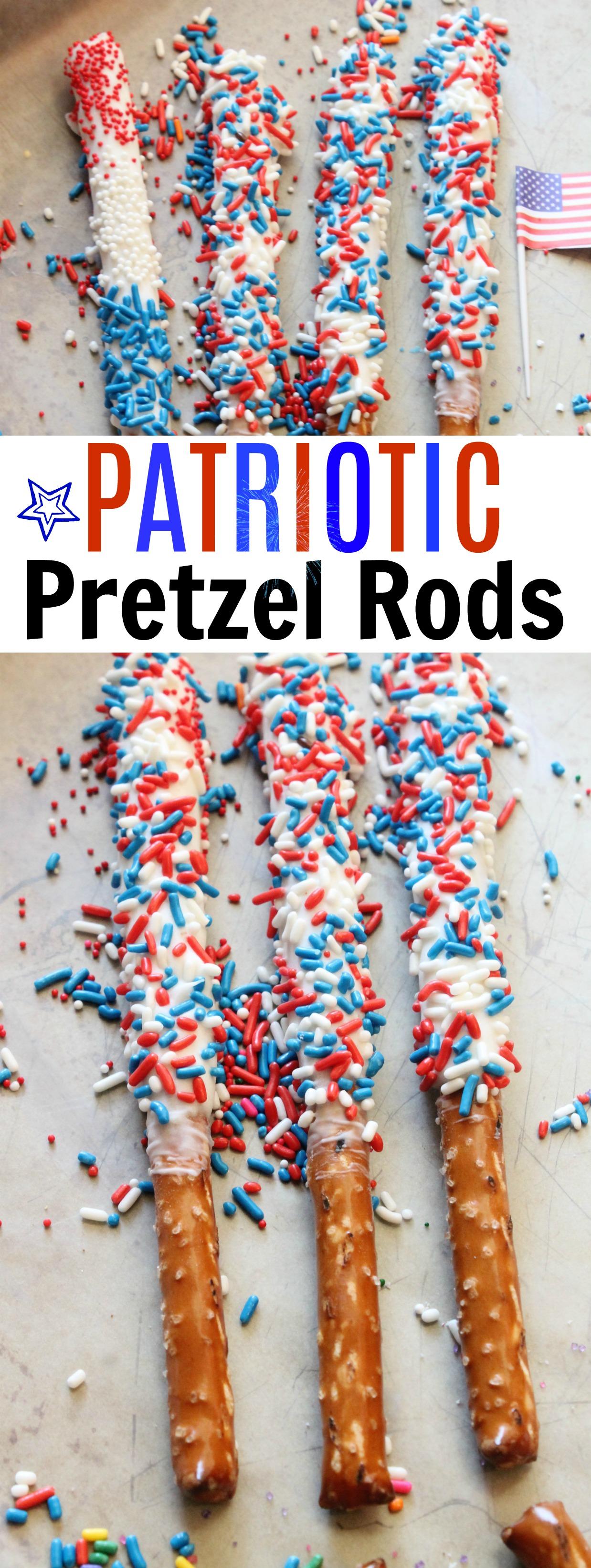 Easy 4h of July Desserts Idea-Patriotic Pretzel Rods Recipe-Easy Fourth of July Desserts