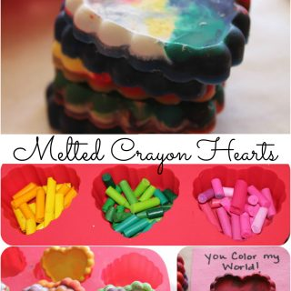 homemade valentine's day cards-melted crayon hearts