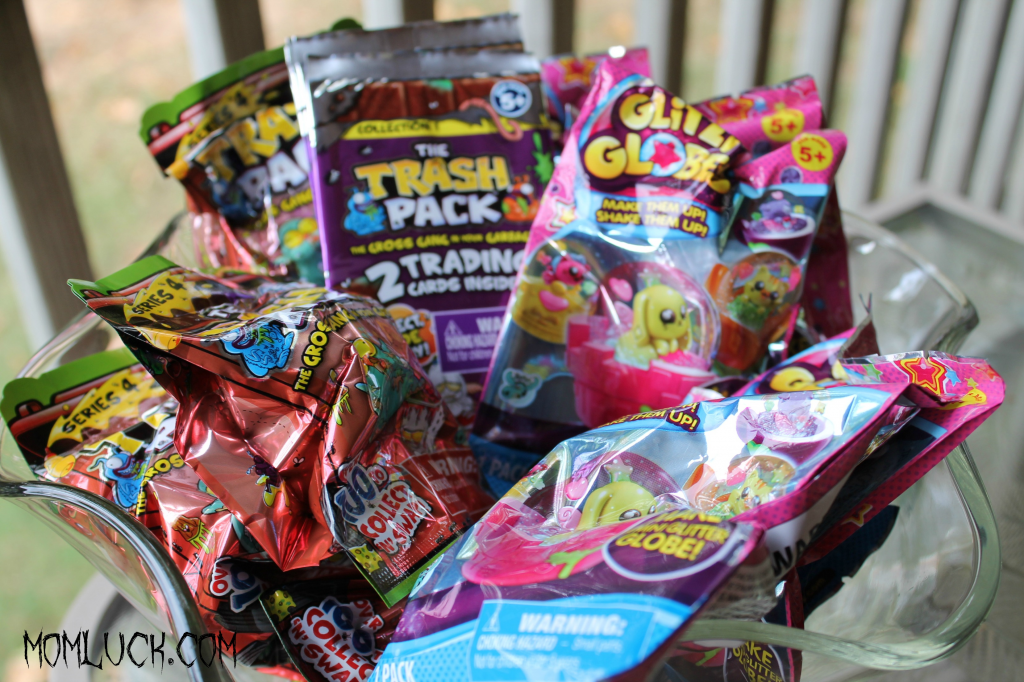 an alternative to Halloween Candy, Trash packs, Glitzi Globes