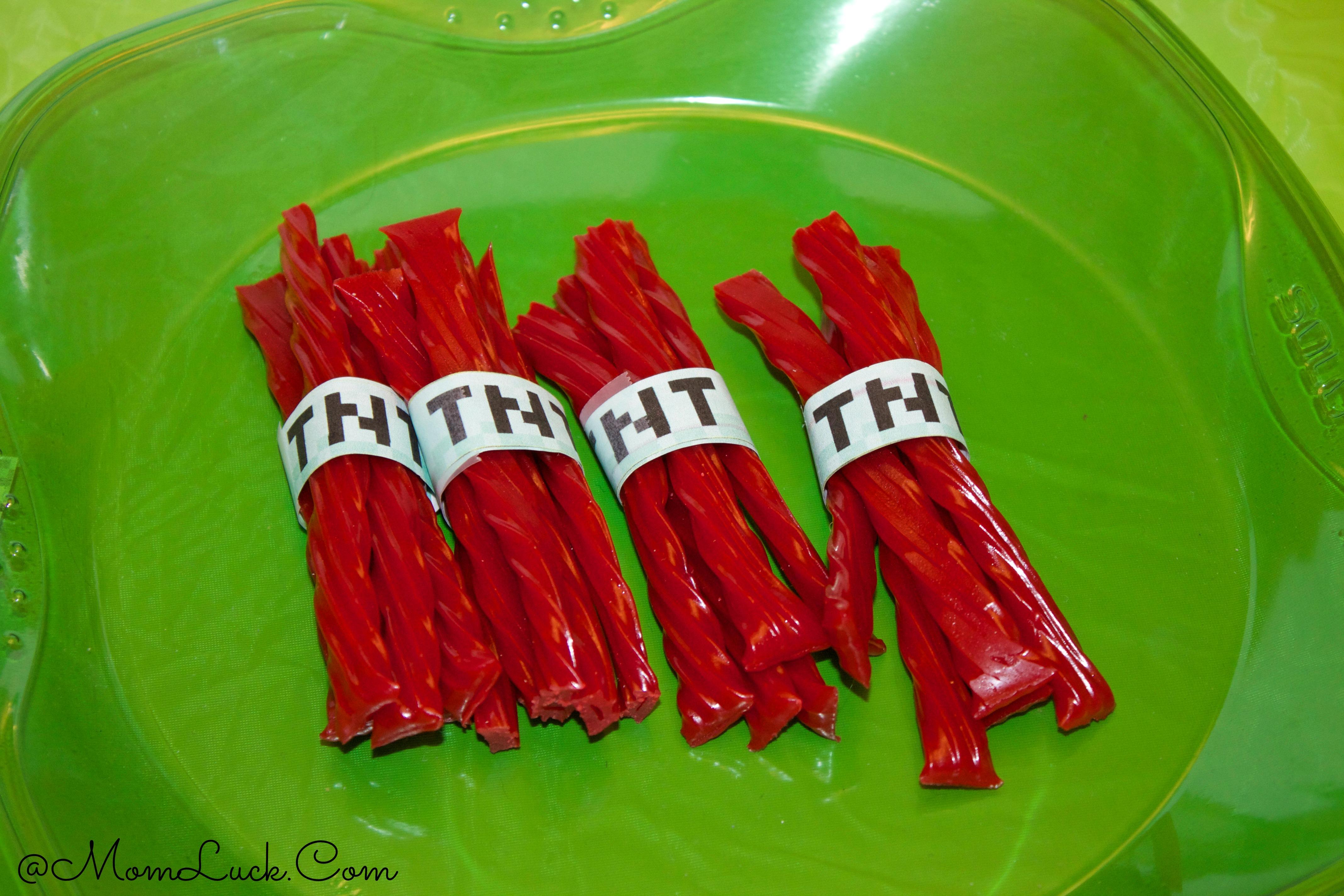 Minecraft Craft Ideas For Kids Part - 33: Minecraft TNT Licorice Sticks