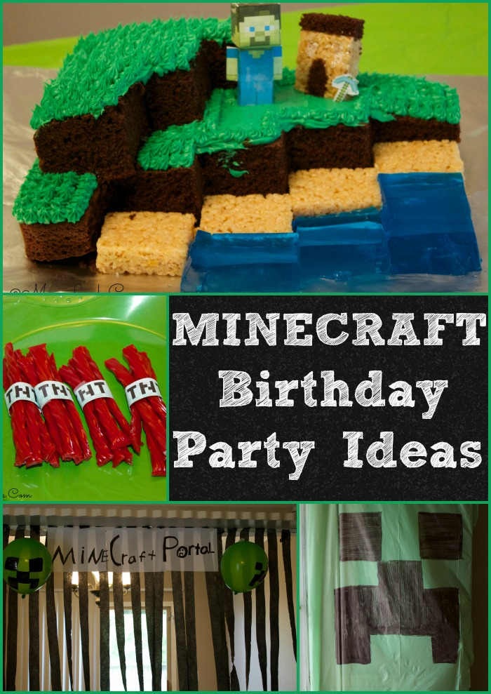 Minecraft birthday party ideas-Minecraft decorations and cake