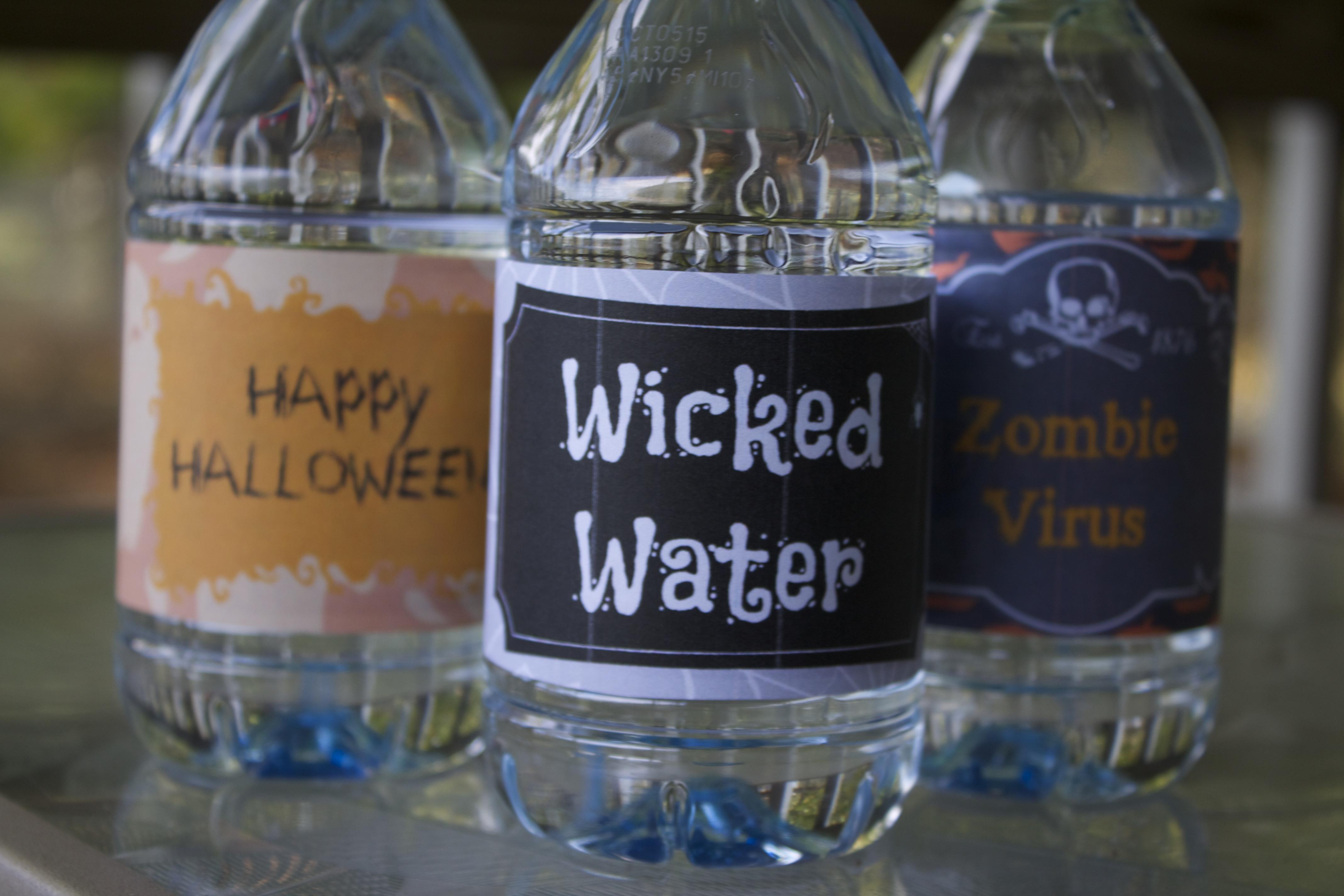 halloween water bottle labels