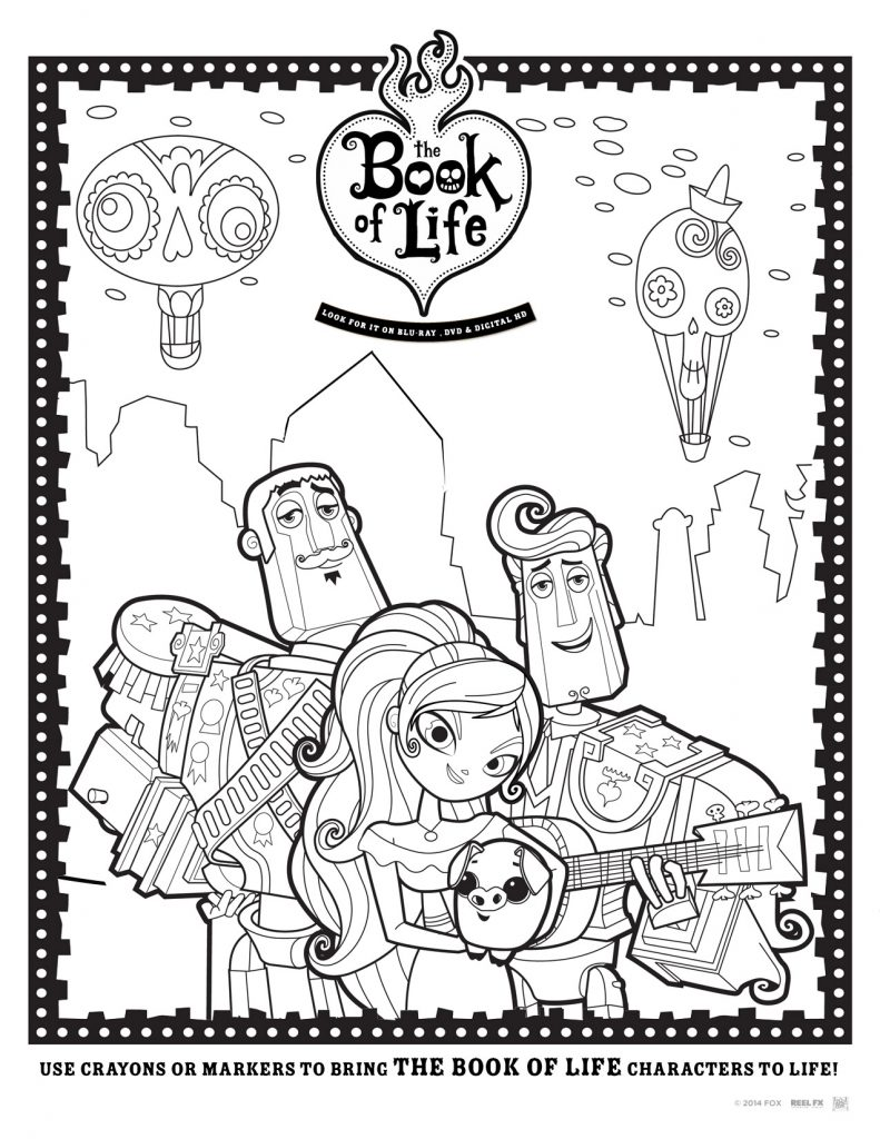 family movie night-printable coloring sheets