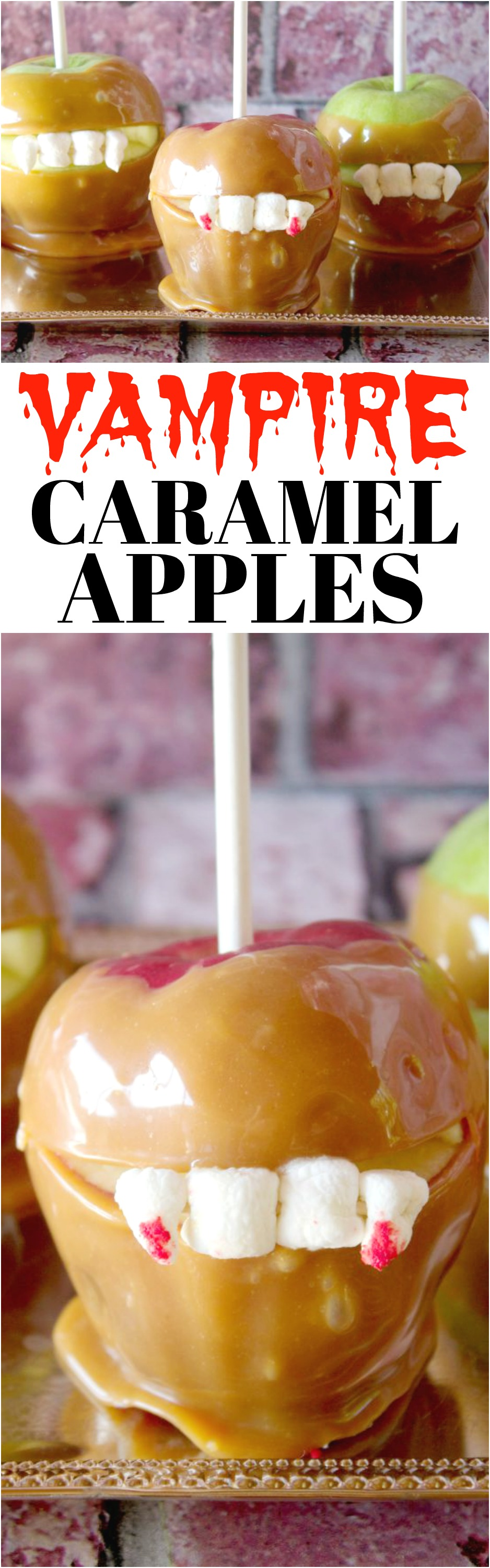 VAMPIRE TEETH CARAMEL APPLES: These Halloween Caramel Apples are the perfect spooky treat for kids. They are a kid friendly halloween dessert that are fun to make and great for Halloween Parties.