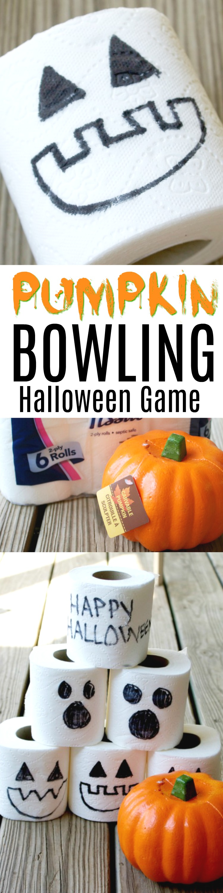 Pumpkin Bowling Halloween Game. This super easy game for Halloween is very inexpensive and a great last minute game idea for kids.
