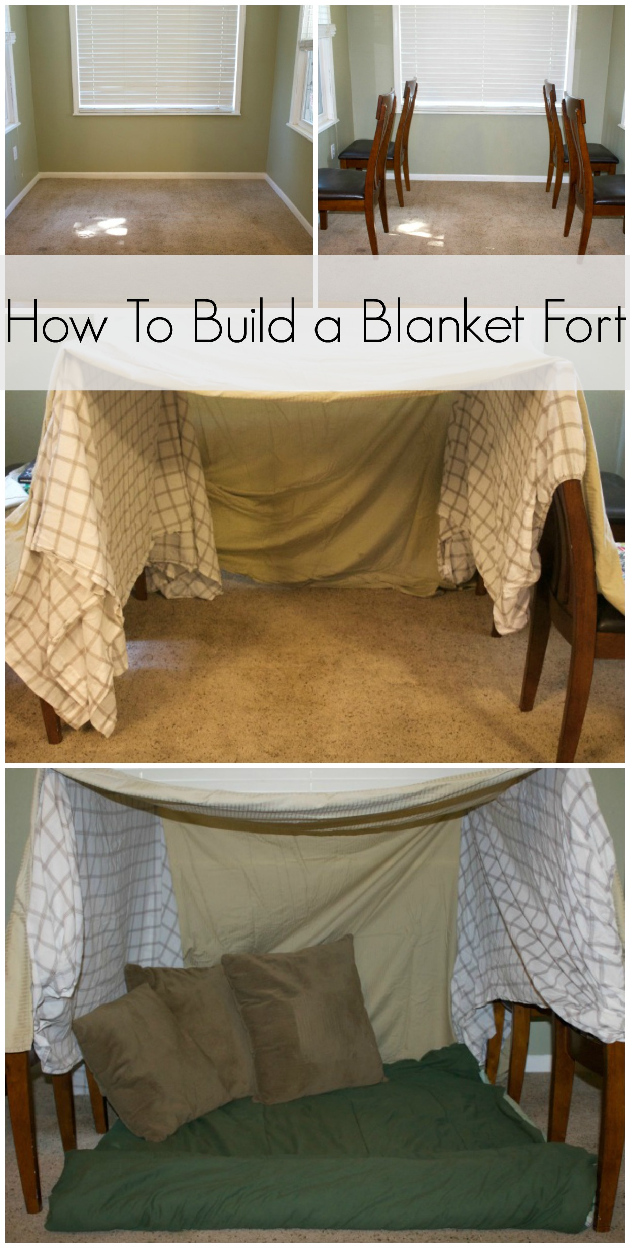 Step by step instructions on how to make a blanket fort for Diy kids fort plans