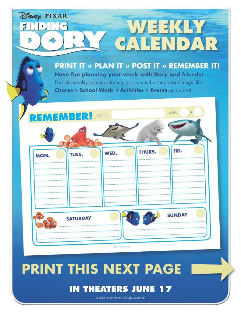 Finding Dory Calendar