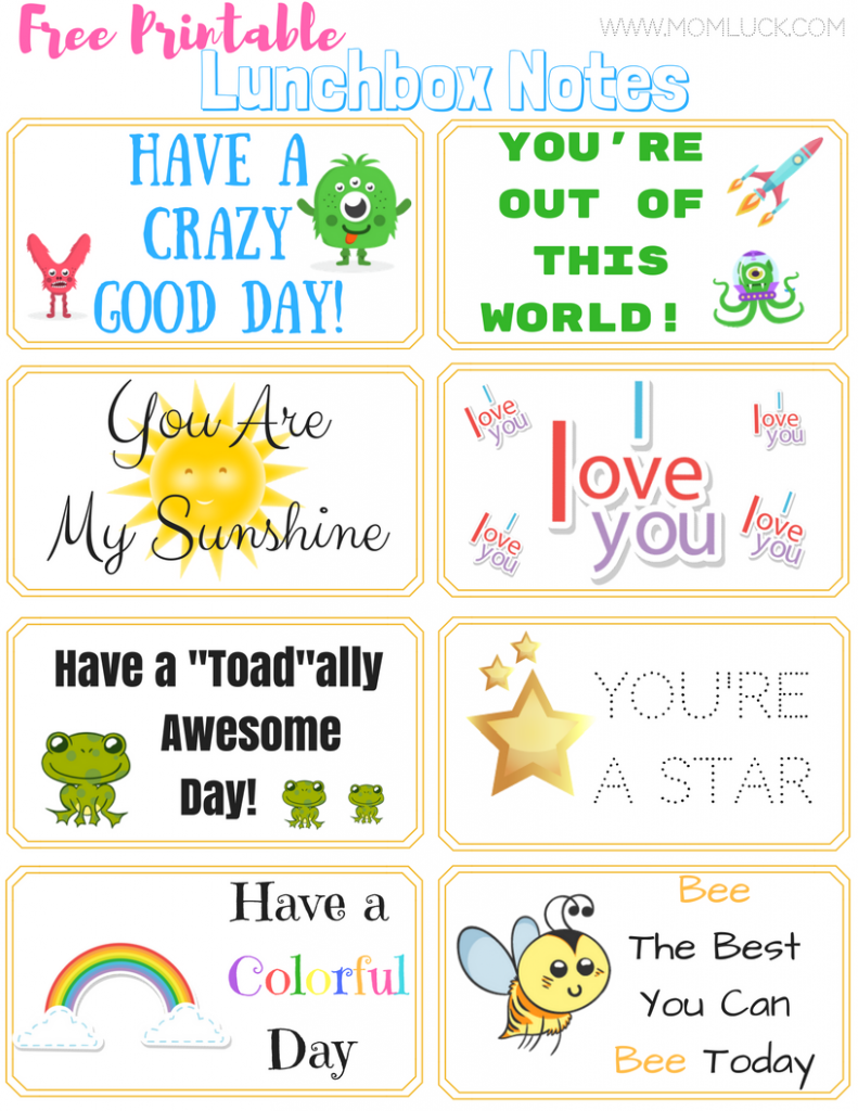 The Cutest Printable Lunchbox Notes For Boys and Girls