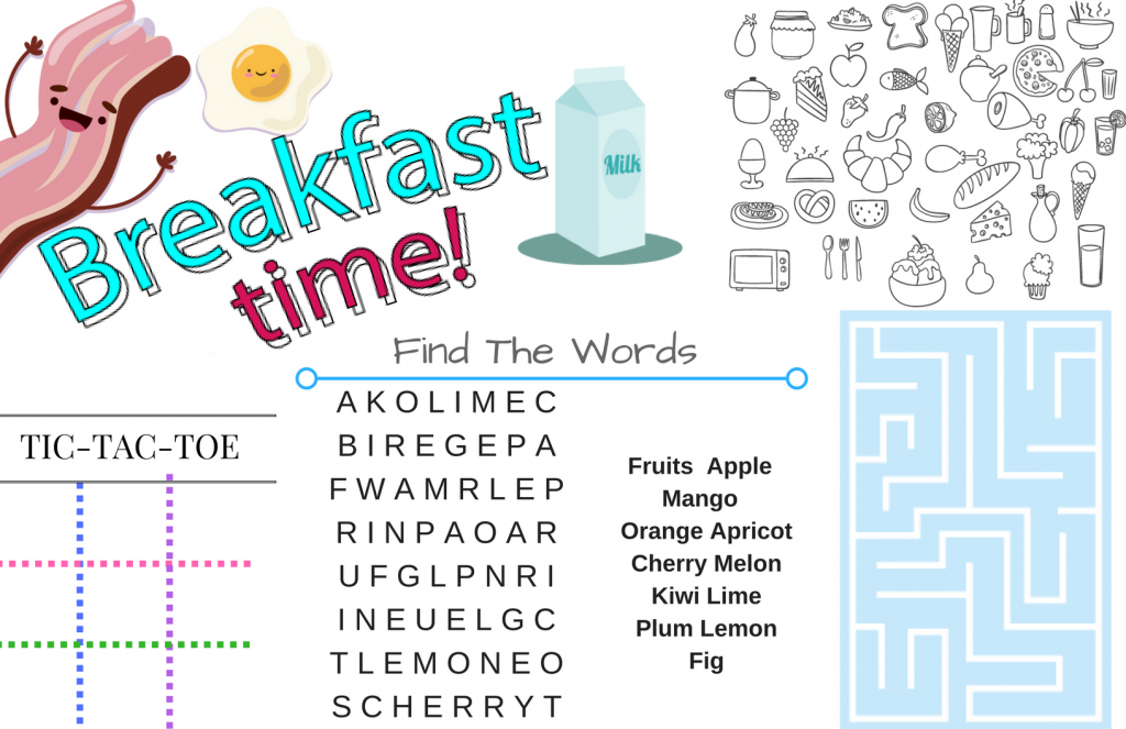 picture relating to Printable Placemats identify Printable Placemats For Young children-Actions For Breakfast