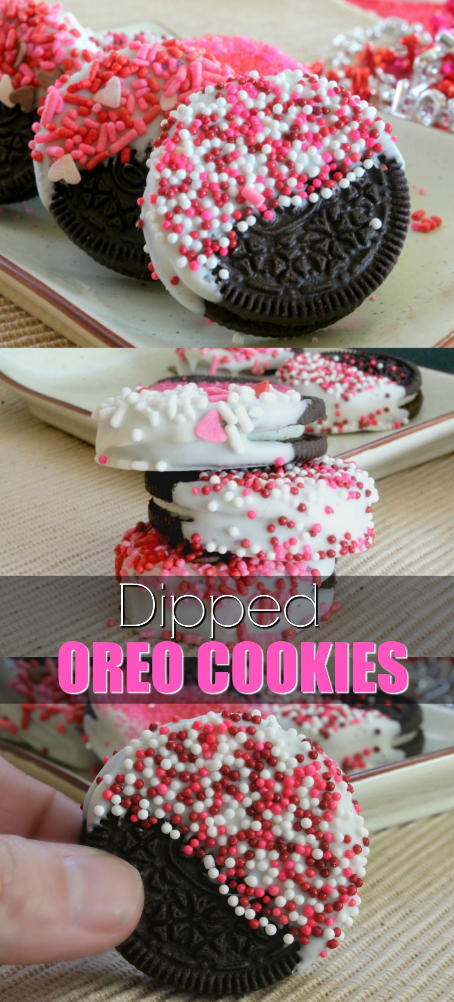 Chocolate Dipped Oreo Cookies Recipe Makes the perfect Valentines cookie. Valentines Day Cookie Ideas.