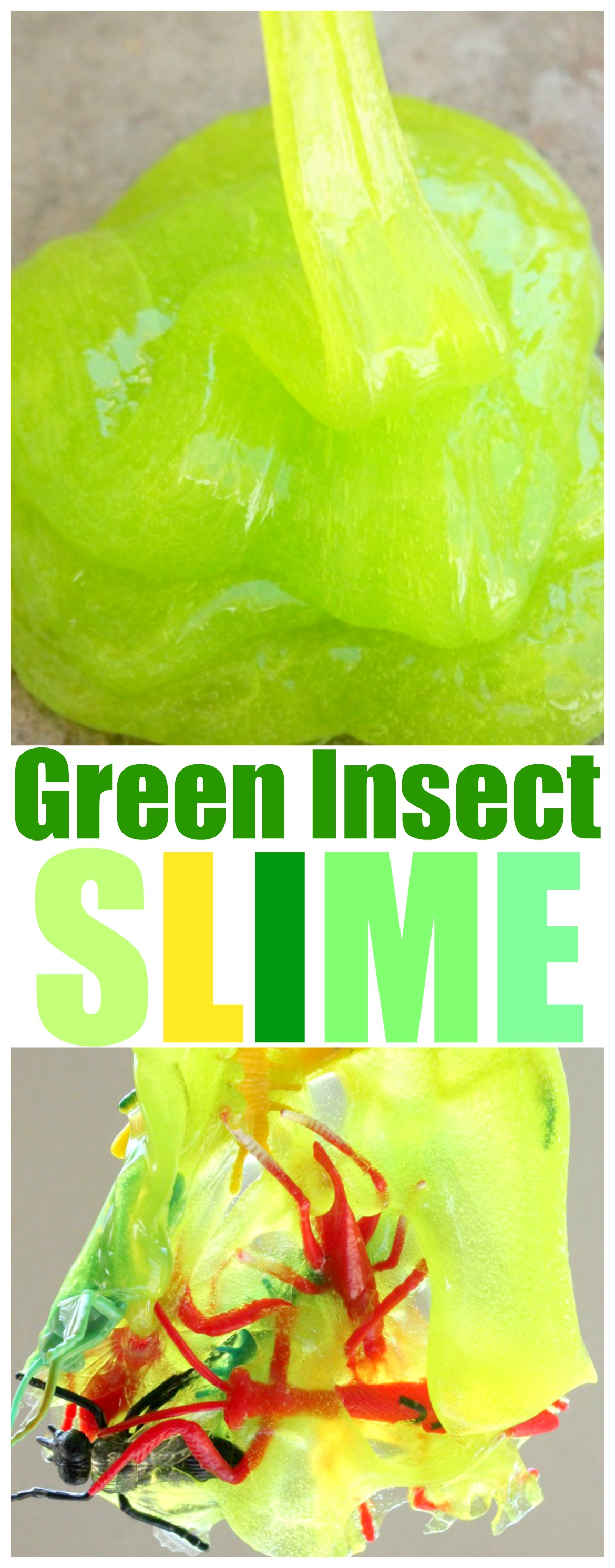 Bug Slime Easy DIY Slime Recipe For Kids. Green Ooze Slime made with Borax or Without Borax. Best Slime Recipe. Great Sensory Play Activity