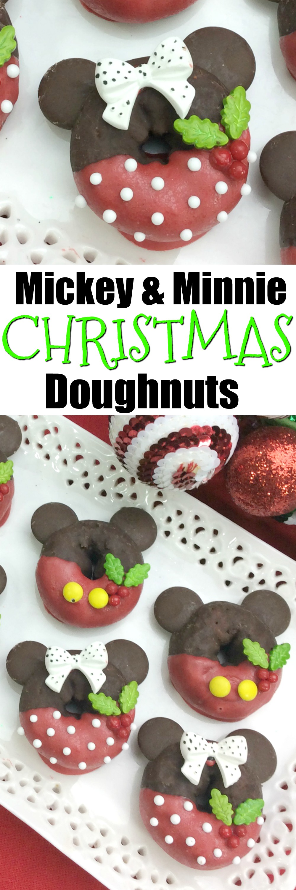 Mickey & Minnie #Christmas Doughnuts! This is a fun kid friendly #breakfast recipe that is quick and easy to make. #Disney