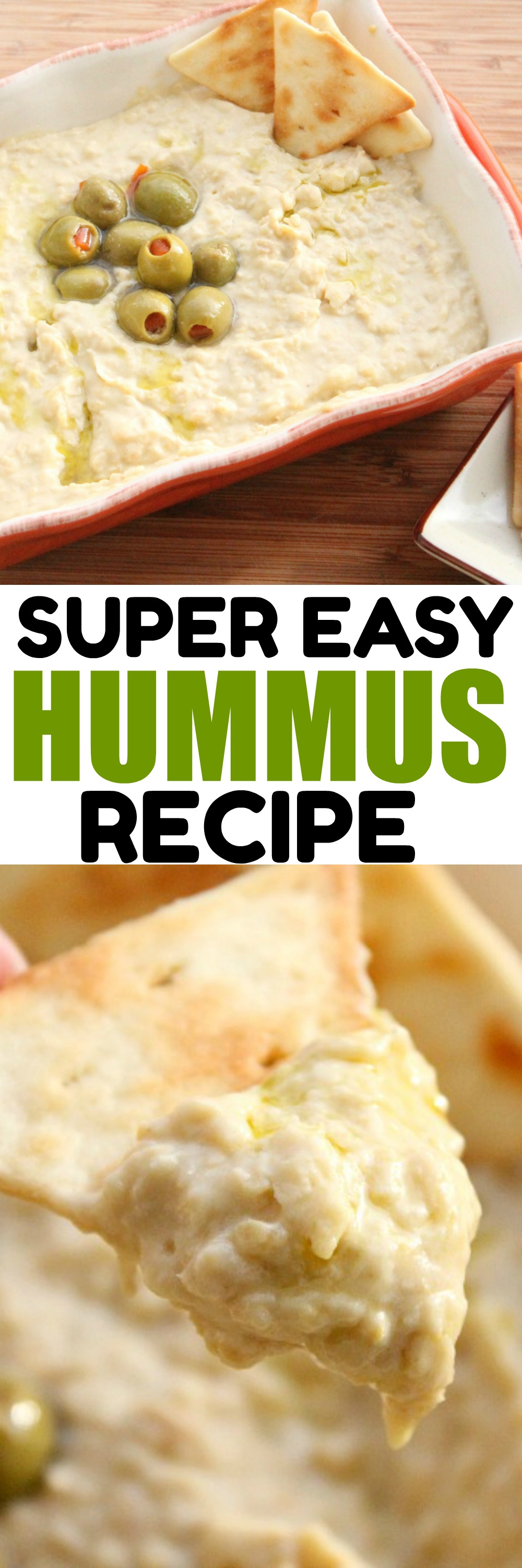 SUPER Easy Hummus Recipe. This Classic Hummus Recipe is made from canned garbonza beans. Top this hummus with olives, peppers or eat as is. It's so yummy and great for a party dip. #Hummus #PartyDip #ChipsandDip