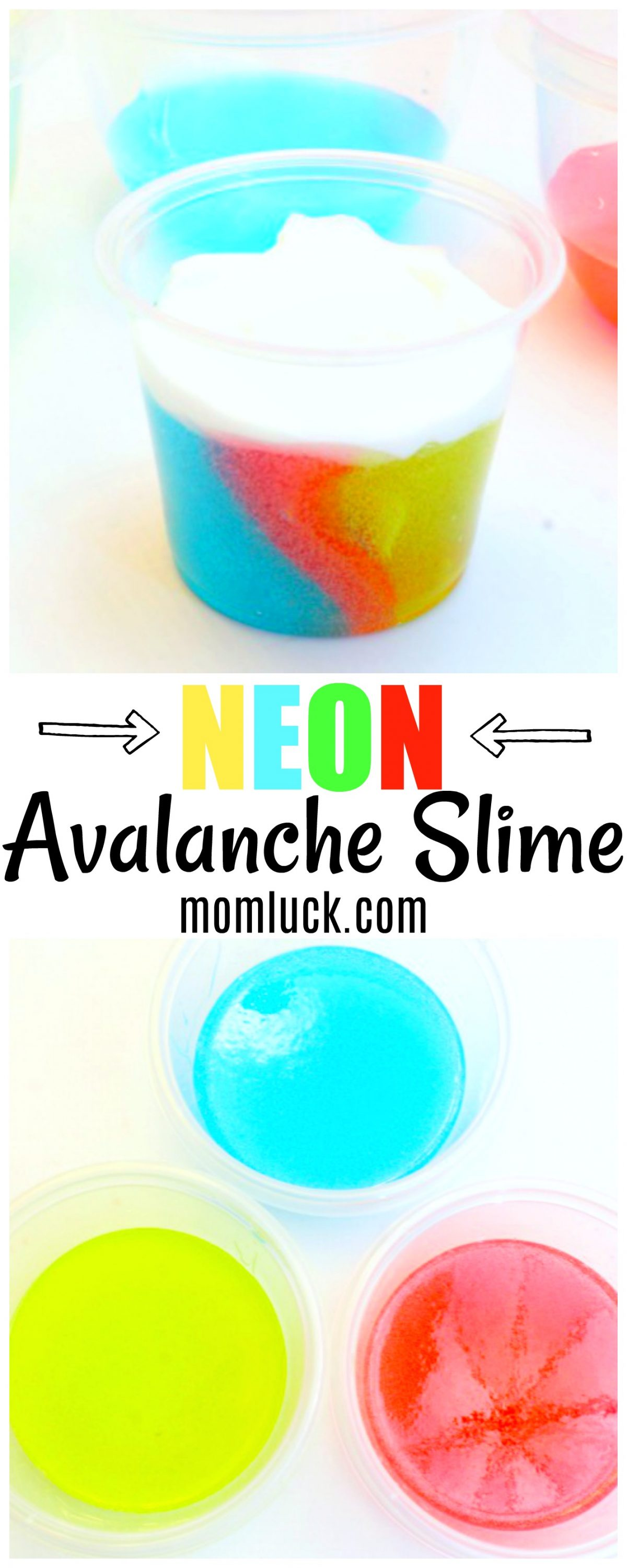 Blue Yellow and Red Neon Avalanche Slime