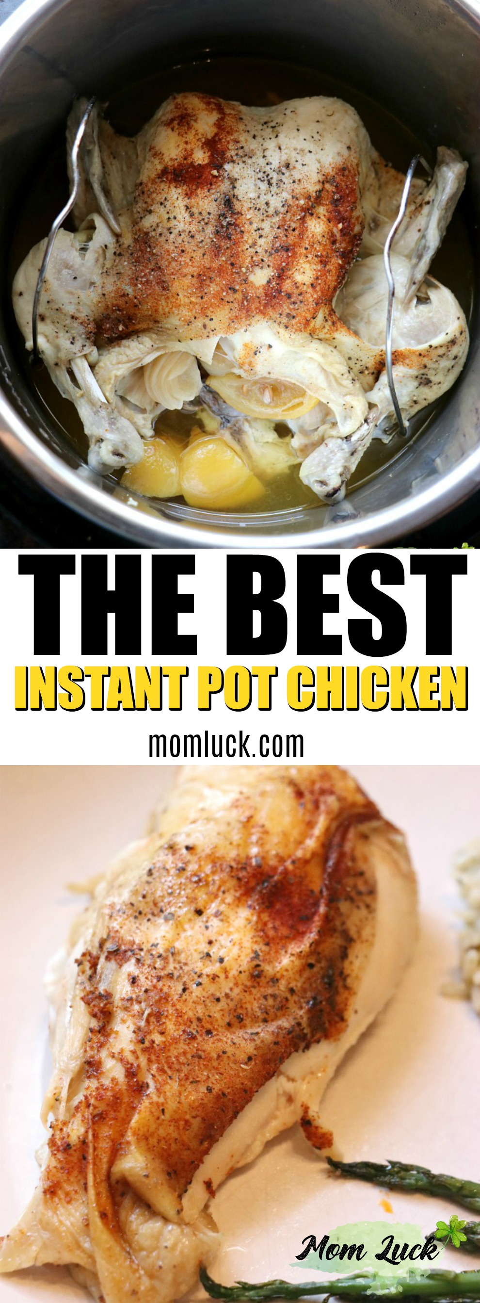 Pinterest image for whole instant pot chicken